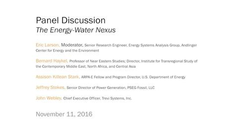 Thumbnail for entry Panel Discussion: The Energy-Water Nexus