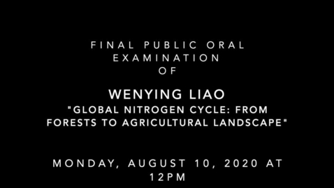 Thumbnail for entry Final Public Oral Examination of Wenying Liao