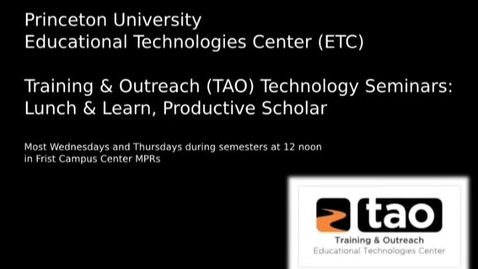 Thumbnail for entry Lunch & Learn: Databases to Play and Watch: Exploring the Princeton University Library's Streaming Audio and Visual E-Resources presented by Darwin Scott