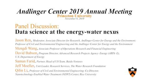 Thumbnail for entry Panel Discussion: Data science at the energy-water nexus