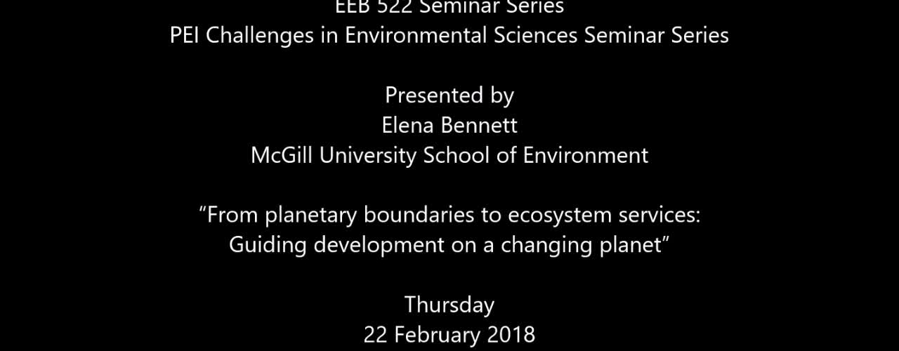 """From planetary boundaries to ecosystem services: Guiding development on a changing planet"""