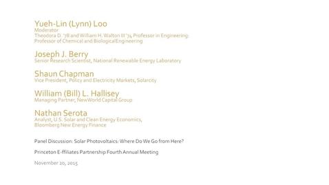 Thumbnail for entry 20151120_Princeton E-ffiliates_Solar Photovoltaics