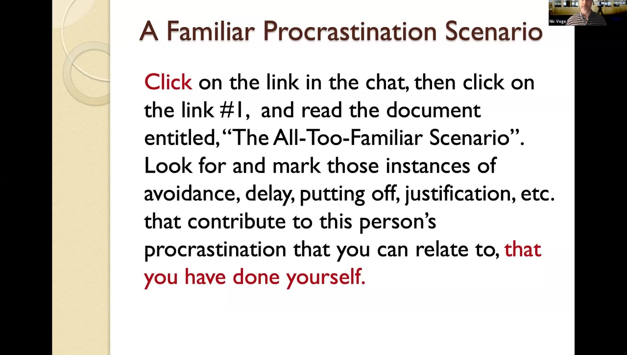 """McGraw Workshop: September 14: """"Why do I keep putting things off?"""": Overcoming Procrastination"""