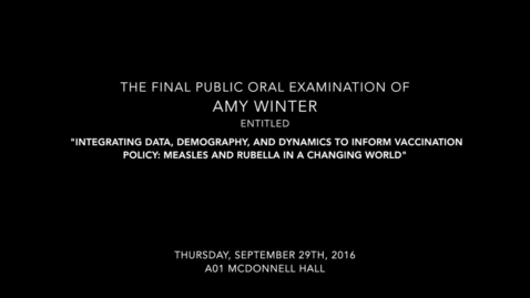 Thumbnail for entry The Final Public Oral Examination of Amy Winter