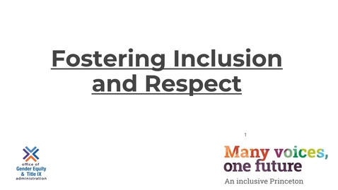 Thumbnail for entry Fostering Inclusion - Welcome Module