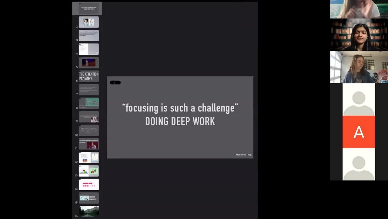 "October 15 McGraw Workshop: ""focusing is such a challenge"" - Doing Deep Work"