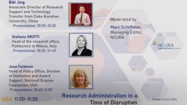 NCURA - RESEARCH ADMINISTRATION IN A TIME OF DISRUPTION- Webinar Recording 3.26.20