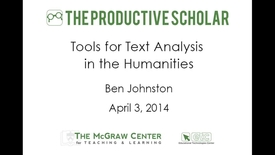 Thumbnail for entry Productive Scholar-Tools for Text Analysis in the Humanities