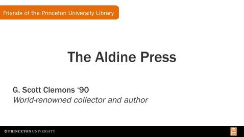 Thumbnail for entry The Aldine Press with G. Scott Clemons '90 (FPUL Small Talk)