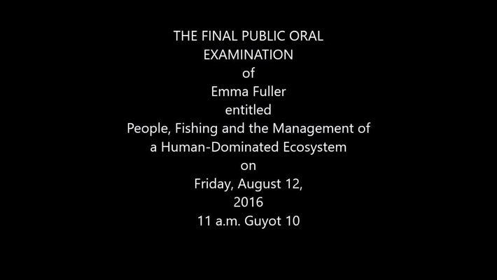 Final Public Oral Examination of Emma Fuller