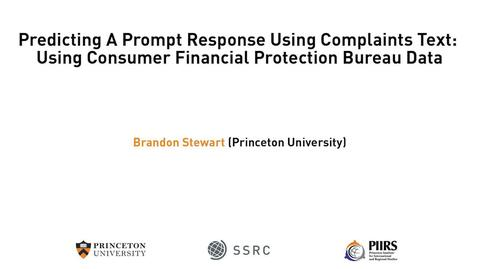 Thumbnail for entry The Dignity & Debt Network Conference - Predicting A Prompt Response Using Complaints Text: Using Consumer Financial Protection Bureau Data