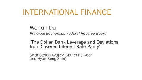 """Thumbnail for entry Wenxin Du """"The Dollar, Bank Leverage and Deviations from Covered Interest Rate Parity"""""""