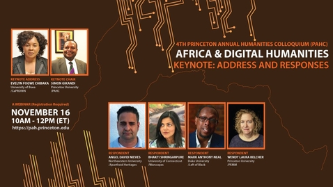 Thumbnail for entry Keynote - Princeton African Humanities Colloquium 2020