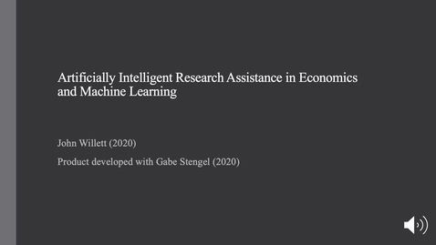 Thumbnail for entry Artificially Intelligent Assistance in Empirical Economics Research