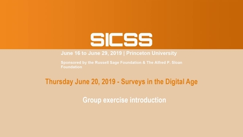 Thumbnail for entry SICSS 2019 - Group exercise introduction