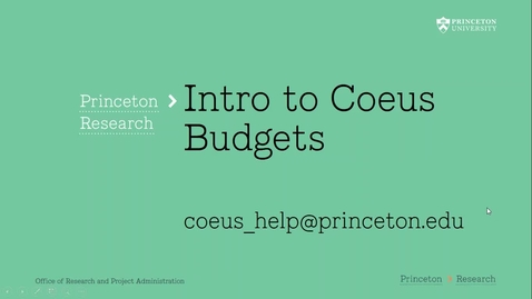 Thumbnail for entry 4.1 Introduction to Coeus Budgets