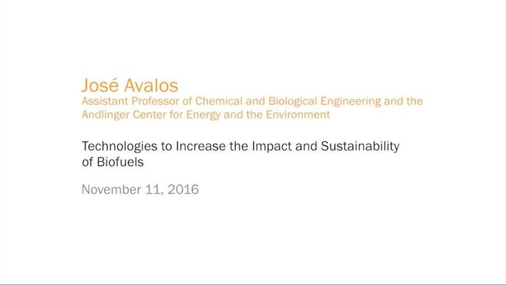 José L. Avalos - Technologies to Increase the Impact and Sustainability of Biofuels