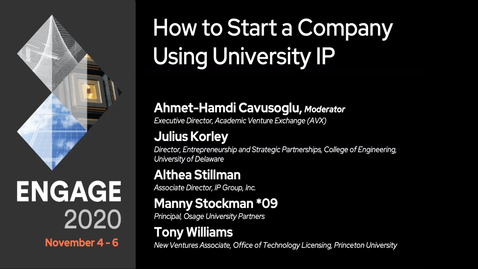 Thumbnail for entry How to Start a Company Using University IP