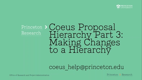 Thumbnail for entry 6.3 Hierarchy Part 3:  Making Changes to the Coeus Proposal Hierarchy
