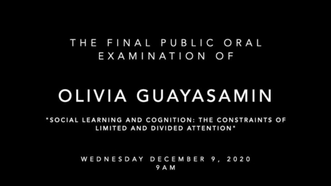 Thumbnail for entry Final Public Oral Examination of Olivia Guayasamin