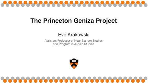 Thumbnail for entry L'CHAIM! to Life - Geniza Project-Rustow/Krakowski
