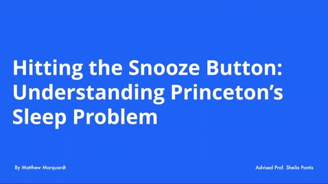Thumbnail for entry Sleep Deprivation at Princeton
