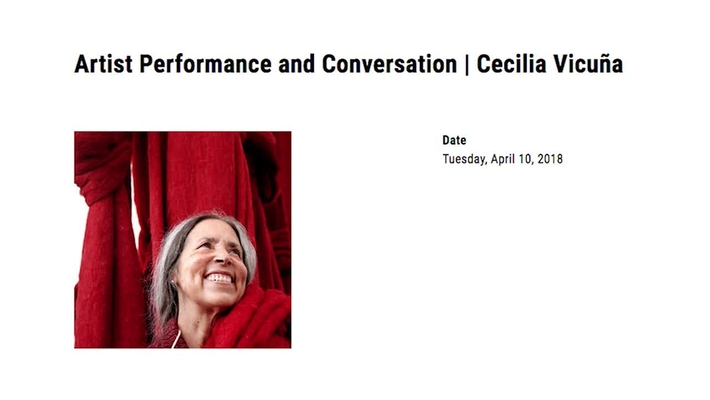 Cecilia Vicuna Performance and Conversation