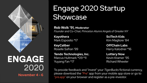 Thumbnail for entry Engage 2020 Faculty and Alumni Startup Showcase
