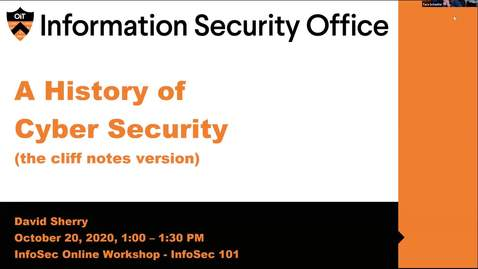 Thumbnail for entry Webinar: History of Cyber Security