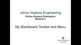 Thumbnail for entry Orientation Module 2 - My Blackboard Toolbar and Menu.mp4