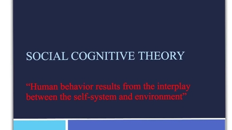 Thumbnail for entry Social cognitive theory