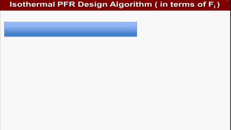Algorithm of an isothermal PFR design