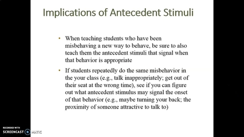 Thumbnail for entry Video Lecture Series#24 Operant Conditioning and classroom management-7
