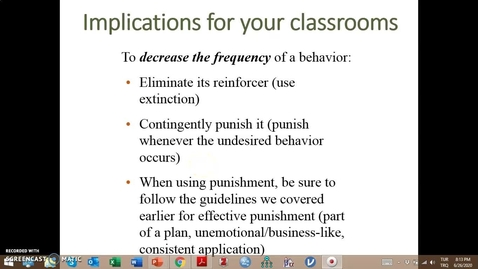 Thumbnail for entry Video Lecture Series#24 Operant Conditioning and classroom management-4