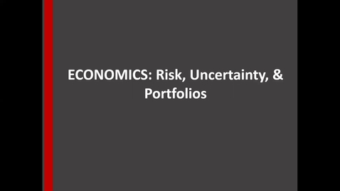 Thumbnail for entry Risk Uncertainty Economics and portfolios