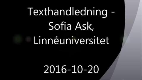 Texthandledning - Handledning av självständiga arbeten (konferens) 2016-10-20