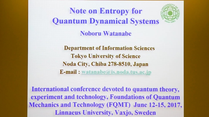 Note on Entropy for Quantum Dynamical Systems - Noburu Watanabe
