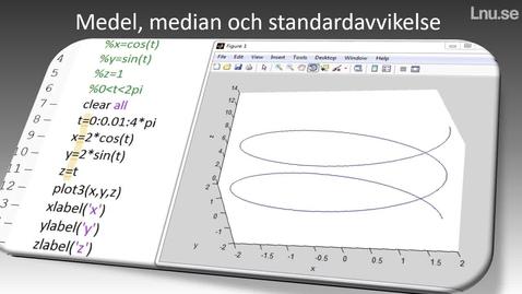 Medel median och standardavvikelse hur beräknar man det i Matlab?