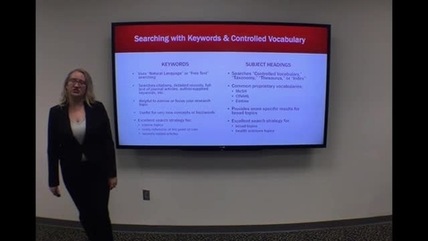 Thumbnail for entry Keywords and Subject Headings - Clip from HSL Introduction to Literature Searching