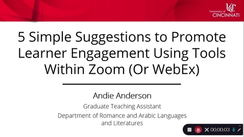 Thumbnail for entry 5 Simple Suggestions to Promote Learner Engagement Using Tools Within Zoom (Or WebEx)  - Andie Anderson
