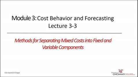 Thumbnail for entry Methods for Separating Mixed Costs into Fixed and Variable Components