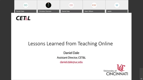 Thumbnail for entry Daniel Dale - Lessons Learned from Teaching Online | Tuesday, 4/14