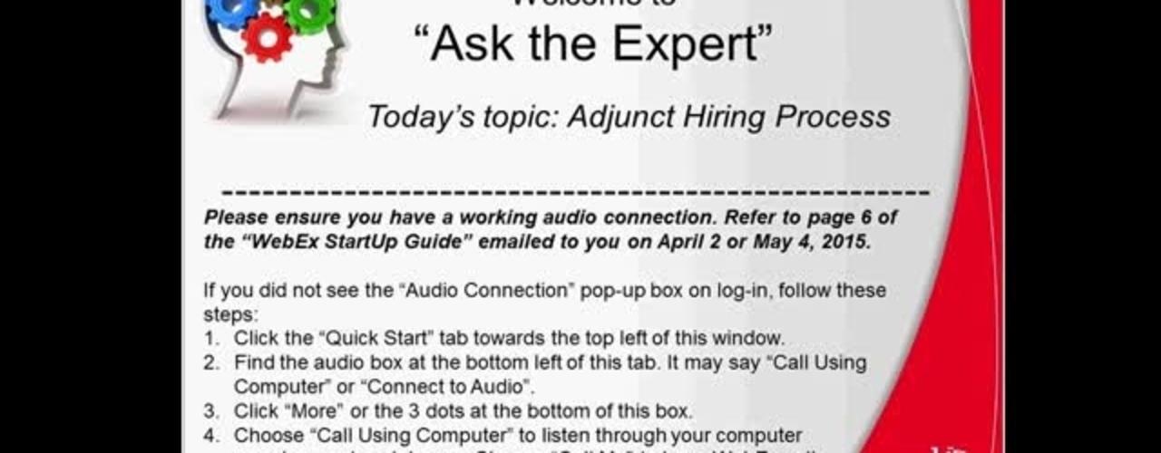 Adjunct Hiring Process - Success Factors Ask the Expert