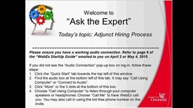 Thumbnail for entry Adjunct Hiring Process - Success Factors Ask the Expert