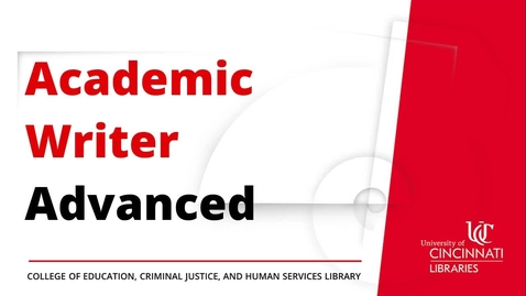 Thumbnail for entry Academic Writer Advanced