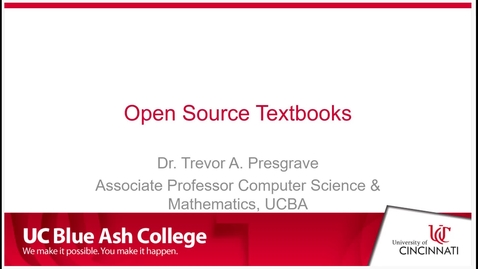 Thumbnail for entry Open Source Textbooks - Poster Presentation