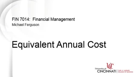 Thumbnail for entry Equivalent Annual Cost