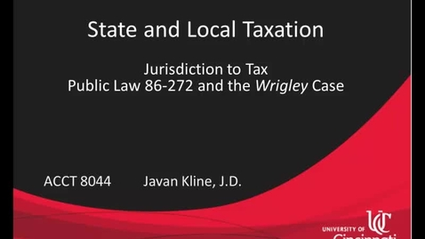 Thumbnail for entry Public Law 86-272 and the Wrigley Case Part II