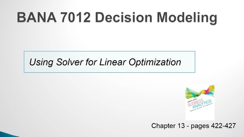 Thumbnail for entry Using Solver for Linear Optimization