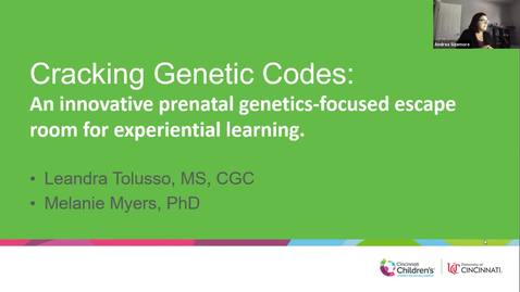 """Thumbnail for entry """"Cracking Genetic Codes: A Genetics-Focused Escape Room for Experiential Learning"""" - Leandra Tolusso & Melanie Myers"""